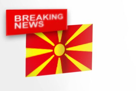Breaking news, Northern Macedonia country's flag and the inscription news, concept for news feeds about the country Northern Macedonia