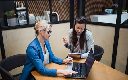 young HR woman interviews a candidate for a job. Business meeting two young women at work discussing the project. Interview with a Manager or job interview, portfolio review Banque d'images