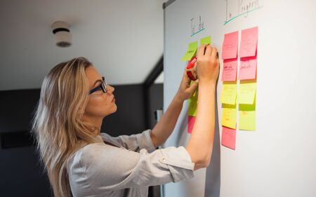 project management, agile methodology. young business woman in the office are planning product development and support. Project manager glue sticky stickers on the Board