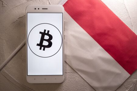 Cryptocurrency and government regulation, concept. Modern economy, smartphone with bitcoin sign on the screen on the background of the flag of Monaco, Imagens