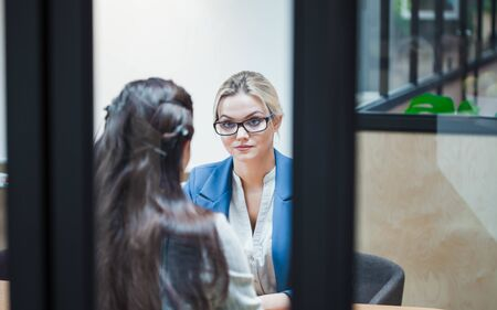 Job interview or business meeting face - to-face. Two business women at a meeting. recruiter and the candidate talk about job skills