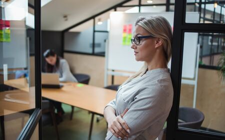 Young confident business woman in glasses on the background of the workspace. Bright, modern office, team work