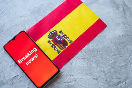 Breaking news, Spain country's flag and the inscription news, concept for news feeds about the country Spain Stock fotó