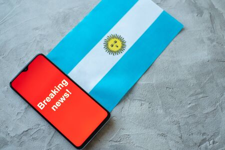 Breaking news, Argentina country's flag and the inscription news, concept for news feeds about the country Argentina Stock fotó
