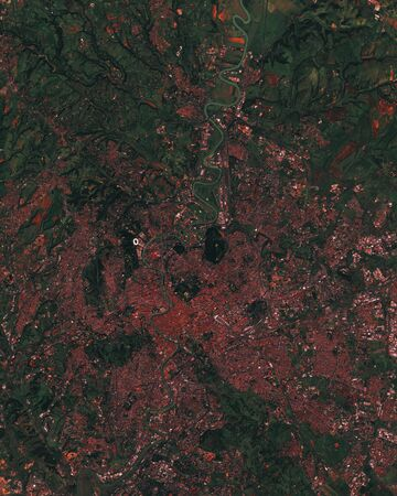 Rome the capital of Italy city and suburb, satellite image of the metropolis. contains modified Copernicus Sentinel data