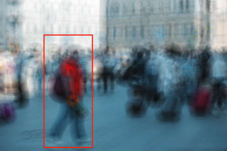 Face recognition and personal identification technologies in street surveillance cameras, law control. person in red frame, was found and recognized, operation of neural network algorithms, concept