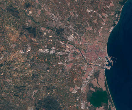 Satellite map of Valencia Spain, view from space. contains modified Copernicus Sentinel data