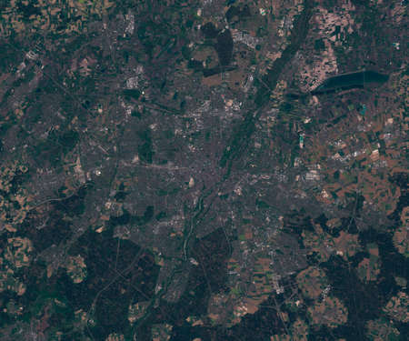 Satellite map of Munich Germany, view from space. contains modified Copernicus Sentinel data