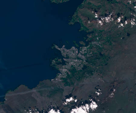 Satellite map of Reykjavik Iceland,, view from space. contains modified Copernicus Sentinel data