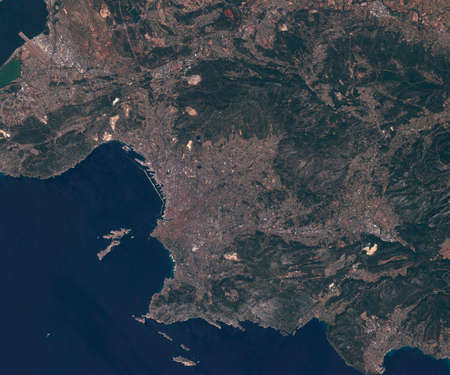 Satellite map of Marseille France, view from space. contains modified Copernicus Sentinel data
