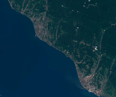 Satellite map of Sochi in Russia , view from space. contains modified Copernicus Sentinel data