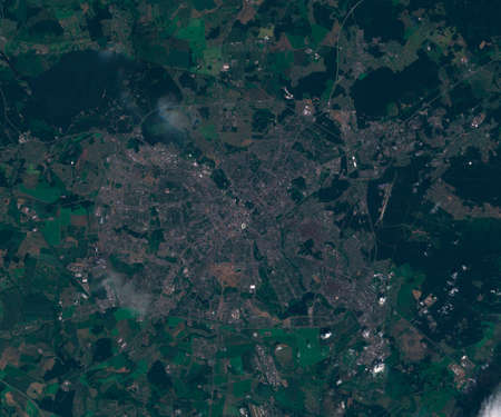 Satellite map of Minsk Belarus, view from space. contains modified Copernicus Sentinel data
