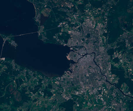 Satellite map of Saint Petersburg in Russia , view from space. contains modified Copernicus Sentinel data