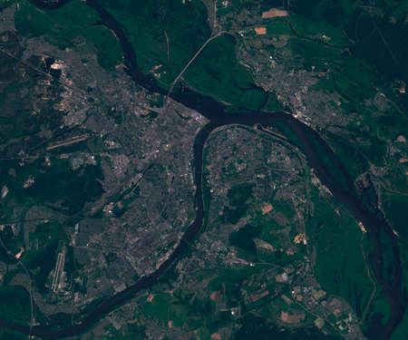 Satellite map of Nizhny Novgorod in Russia , view from space. contains modified Copernicus Sentinel data
