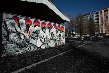 series of drawings on the wall, street art.