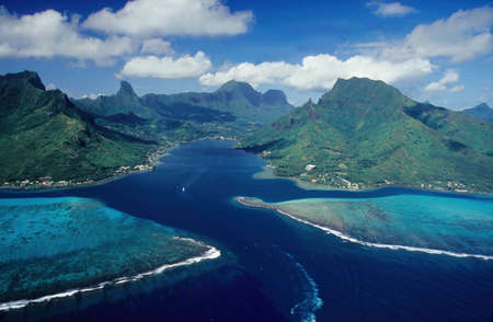Aerial View, Mt. Mou'a Roa (880m), MOOREA, Society Islands, French Polynesia Stock Photo
