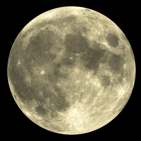 moon crater: The Full Moon with great detail - very rare. Stock Photo