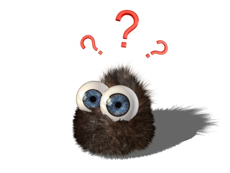 cartoons sweet: Wobby, the cute hairy little creature, has some questions. Stock Photo