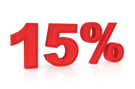 stating: Percent Numbers stating a Discount in red color - 15%