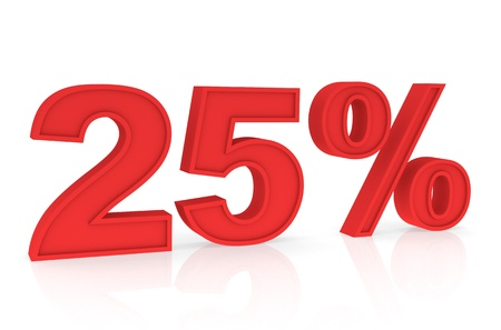 stating: Percent Numbers stating a Discount in red color - 25%