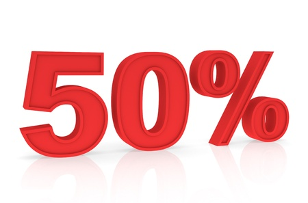 stating: Percent Numbers stating a Discount in red color - 50%