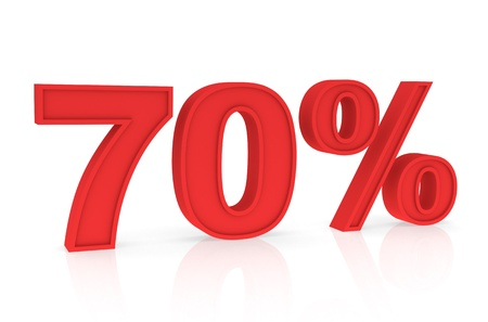 stating: Percent Numbers stating a Discount in red color - 70%