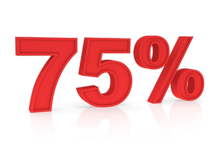 stating: Percent Numbers stating a Discount in red color - 75% Stock Photo