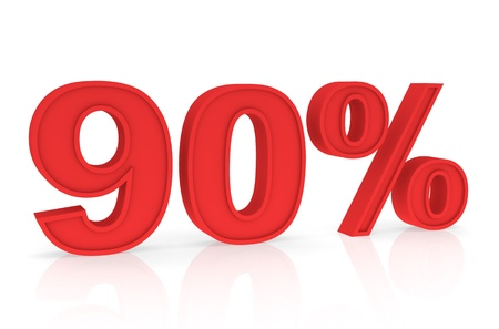 Percent Numbers stating a Discount in red color - 90% photo