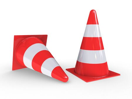 demarcation: Traffic Pylons for regulation on white background