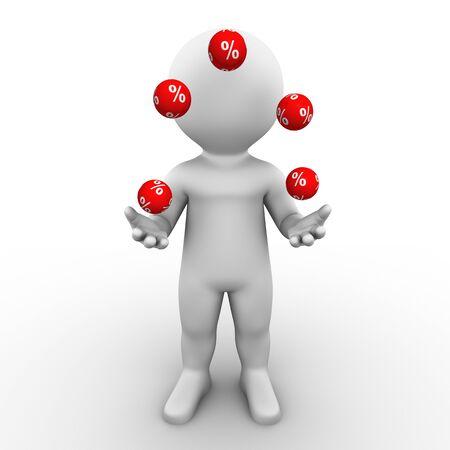 Bobby ist ein paar Prozent Bälle jonglieren.