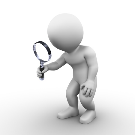 Bobby is searching something with his magnifying glass photo