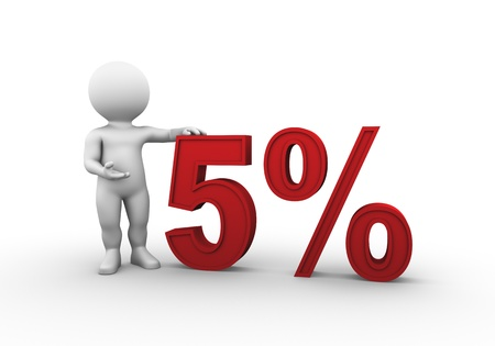 Bobby is presenting a discount percentage in red Stock Photo - 9393920