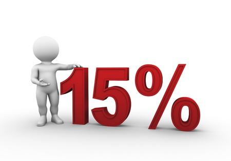 Bobby is presenting a discount percentage in red 版權商用圖片