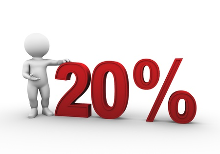�20: Bobby is presenting a discount percentage in red Stock Photo
