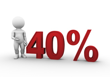 Bobby is presenting a discount percentage in red photo