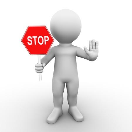 Bobby hält ein Stop-Schild und fordert Sie auf, zu stoppen