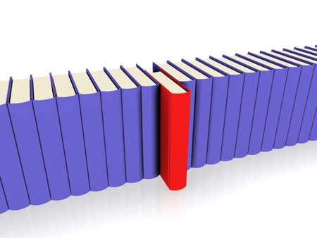 A line of Books - red book seperated Stock Photo - 9393959