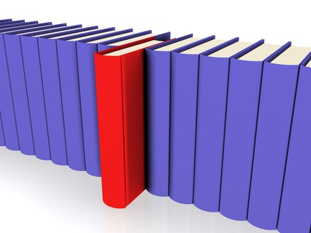 electronically: A line of Books - Close Up Shot Stock Photo