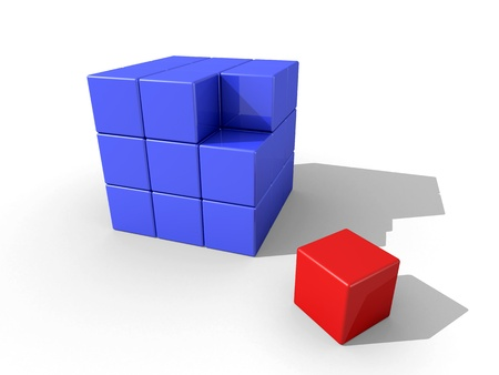 A bunch of blue cubes and a seperated red cube on white background. Stock Photo - 9393910