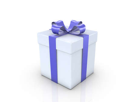 A Gifrbox with a blue ribbon on white background photo
