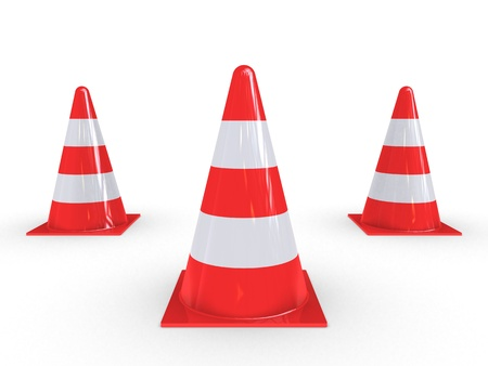 demarcation: Traffic Pylons for regulation on white background
