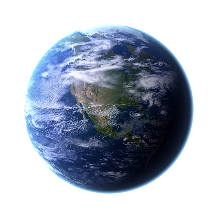 Our own Planet Earth on white background Stock Photo - 9403035