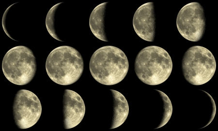 the Moon with all phases during a month Standard-Bild