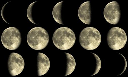 der Mond mit allen Phasen während eines Monats