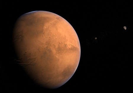 astrophysics: Planet Mars with its Moons Phobos and Deimos
