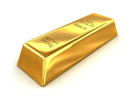an ounce: A bar of fine gold with a net weight of 1000g