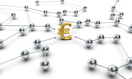 A Euro Symbol connected through several network knots Stock Photo - 10358775