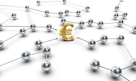 Ein Euro-Symbol über mehrere Netzwerk-Knoten verbunden