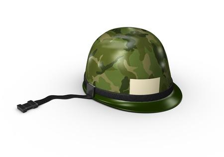 disciplina: Un casco del ejército con una cadena y el patrón de camuflaje verde.