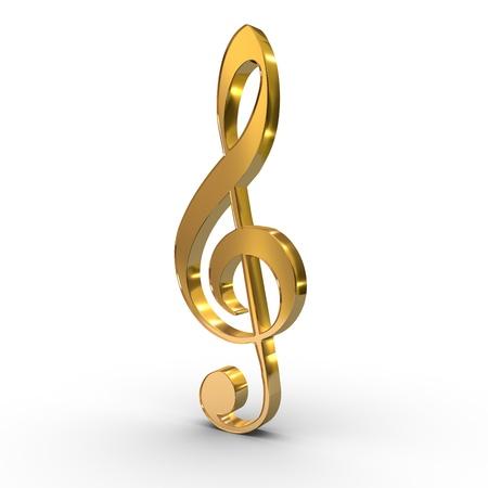 ein Violinschlüssel  Violine beachten Schlüssel-Symbol auf weißem Hintergrund